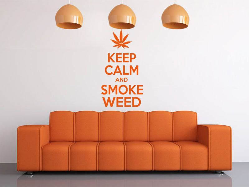 ... Keep Calm And Smoke Weed Modern Wall Art Quote, Wall Sticker, ... Part 86